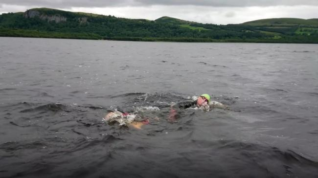 Garry McGovern during his swim Lough MacNean last Friday.