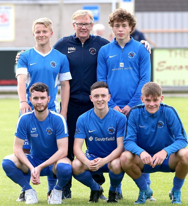 Ballinamallard manager with his new signings back from left, John Currie and Alex Holder. Front from left, Ryan Morris, Lee Frazer and Dean Corrigan.