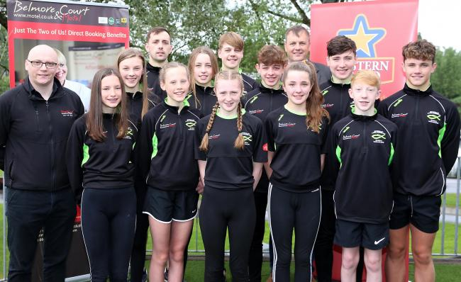 Enniskillen Lakelanders with coaches and sponsors who are taking part in the Irish National Finals are front from left, Ciosa McConnell, Isobel Lannon, Emilie Reihill, Anna McDade and Frank Buchanan. Middle from left, Carl Woods, Belmore Court and Motel;