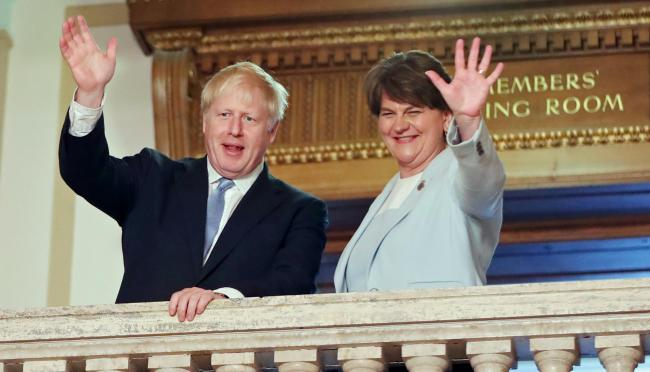 Boris Johnson meets with DUP Leader Arlene Foster at Stormont Parliament in Belfast. Pic: Niall Carson/PA Wire