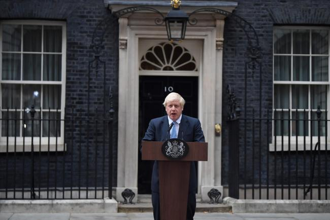 Prime Minister Boris Johnson speaking outside his official residence in London's Downing Street. PRESS ASSOCIATION Photo. Picture date: Monday September 2, 2019. See PA story POLITICS Brexit. Photo credit should read: Victoria Jones/PA Wire