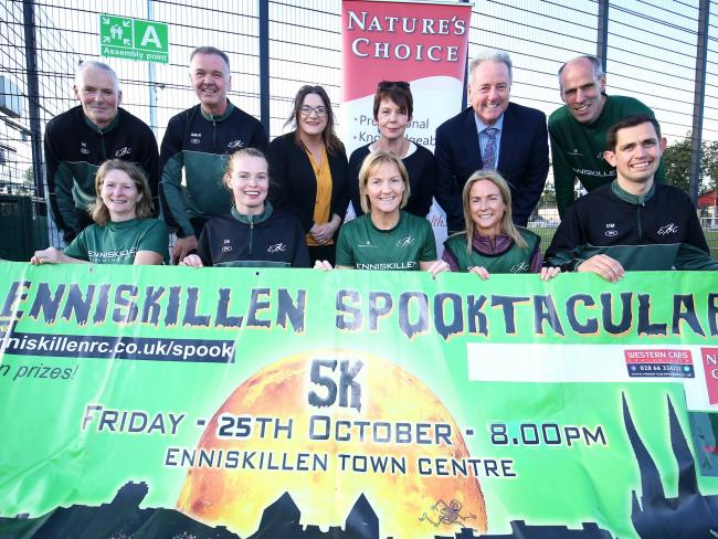 Pictured at the launch of The Enniskillen Spooktacular are back from left, Stephen Clawson, Enniskillen Running Club; Gordon McKenzie, ERC; Kerri McCawnny, Pats Bar, Sponsors; Nuala Lilley, Natures Choice, Sponsors; Dessie Elton, ERC and Pat McCaffrey, We