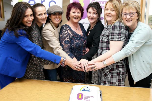 Cutting the cake during the 18th anniversary of ARC Healthy Living Centre are from left, Jenny Irvine, Chief Executive ARC Healthy Living; Aoife Balfour, Coh-Synch Project Worker; Sharon Slevin, Coh-Synch Community Area Facilitator Donegal Area; Maisie Li