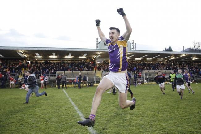 Garvan Jones celebrates after Derrygonnelly saw off Trillick after a penalty shoot out.