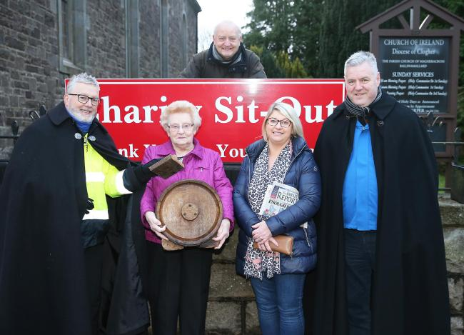 Archdeacon Brian Harper, Ballinamallard Church of Irealand and The Rev. John Beacom, Methodist Church Ballinamallard on their annual sit out for Christmas. Also included are from left, Joy Elliott, Henry Robinson and Valerie Dickson.