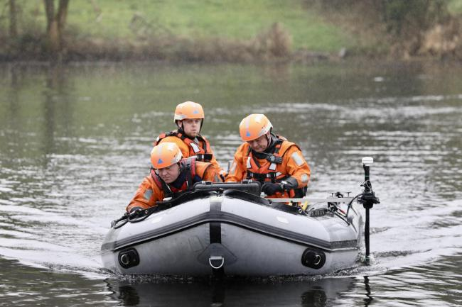 Members of the Irish Civil Defence taking part in the search for missing man Tony Lynch in a lough in Monaghan last week.