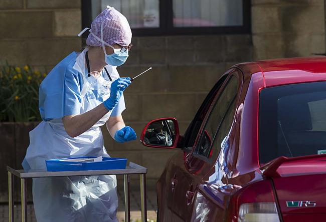 A nurse preparing to carry out a test on a healthcare worker this morning. Photo by John McVitty.