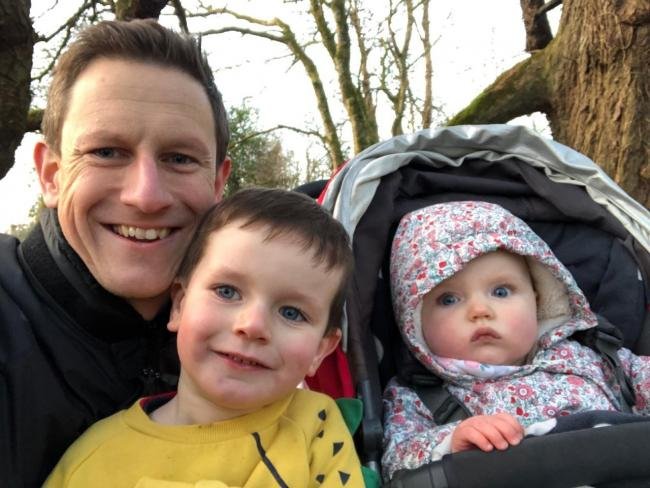 Michael Preston with his children Oscar and Innis.