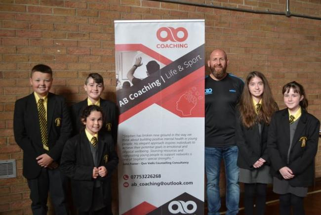 Aidan Beattie with St. Aidna's students who took part in the workshops.