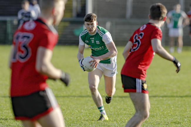 Ronan McCaffrey powering forward.