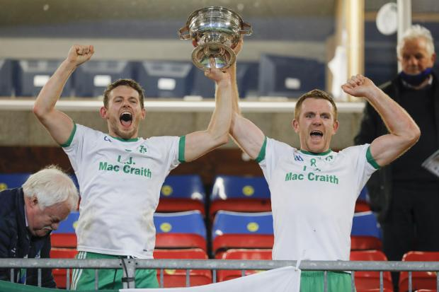 Impartial Reporter: Declan McCusker and Marty McGrath lift the New York Cup at Brewster Park last year.