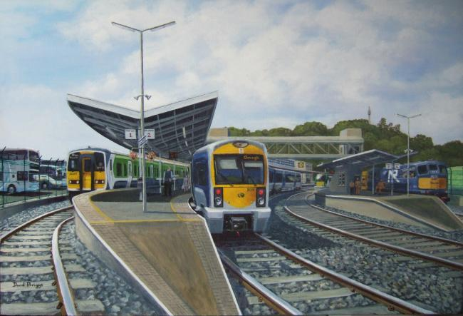 Painting of Enniskillen Railway Station by railway artist David Briggs depicting what Enniskillen station might have looked like should it have remained open in 2021