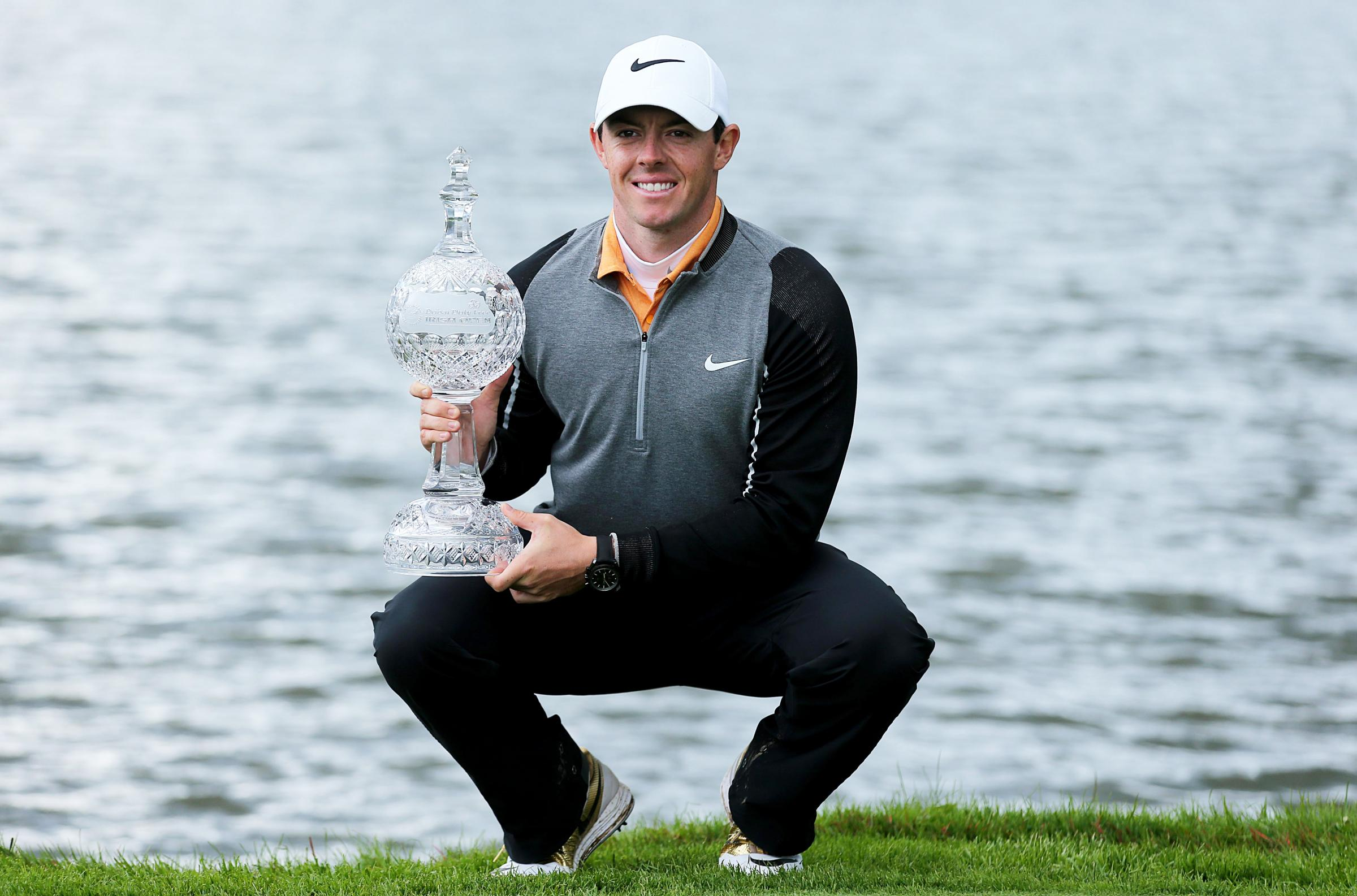 Rory McIlroy with The Irish Open trophy.
