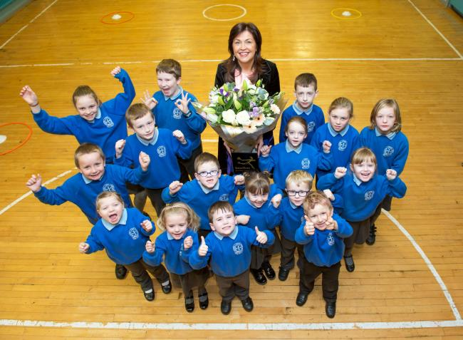 Irvinestown's St. Paul' s Primary School principal, Shauna Cathcart, pictured with pupils