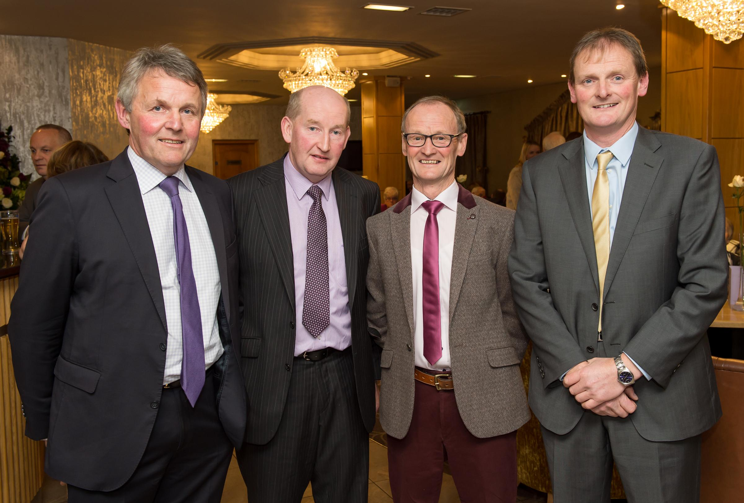 Attending the UFU dinner in the Killyhevlin Hotel were Barclay Bell, President; Glen Cuddy, David Murray and David Brown, County Chairman, UFU.