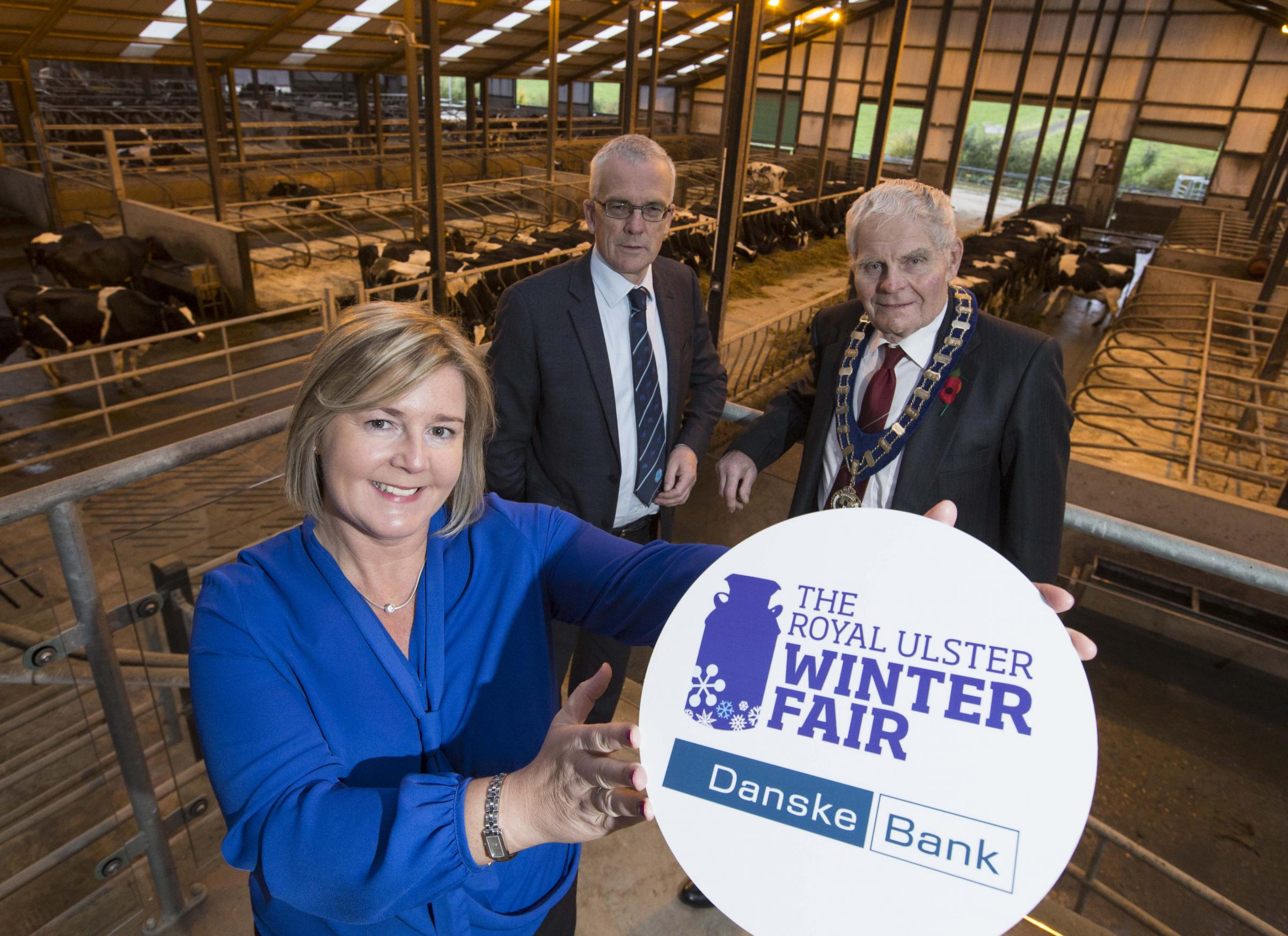 RUAS President, Billy Robson with Rhonda Geary of the RUAS and John Henning, Danske Bank at the launch of the 31st Royal Ulster Winter Fair.