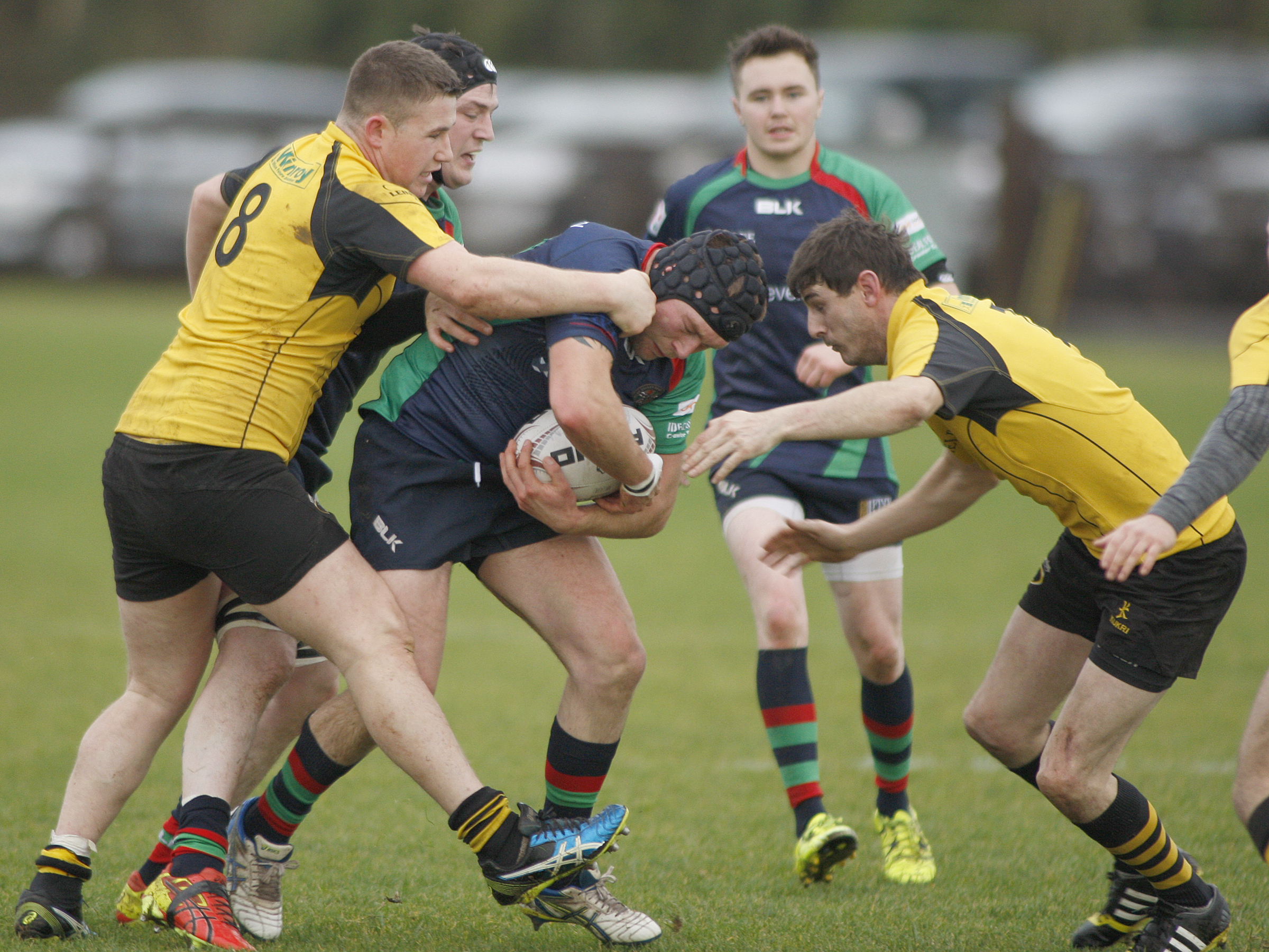 Clogher Valley's Nathan Orr takes the direct route towards the Ashbourne try line.