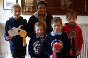 Successful Pony Club members (from left) Sophia Williams, Kamryn McQuaid, Alice Black, Emily Black, Patrick Williams