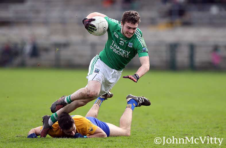 Eoin McManus goes down under challenge in the win over Clare.