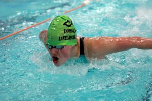 Caitlin Love on her way to defending her Ulster Secondary Schools' 100m butterfly title.