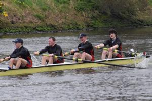 Enniskillen Royal Boat Club coxed four of Nathan Timoney, Aaron Johnston, Ross Corrigan, Conor McLaughlin competing at the Lagan Head.
