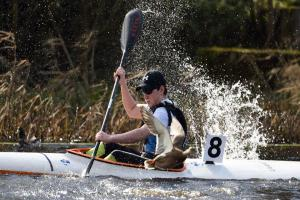 Dylan Swift, Erne Paddlers in high speed as a duck takes evasive action.
