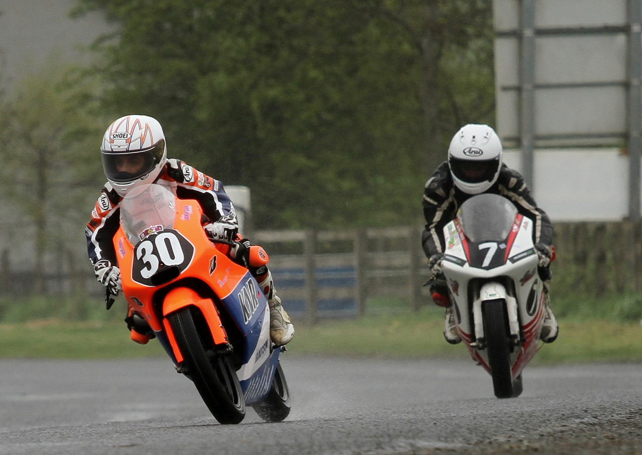 Melissa Kennedy leads Sarah Boyes at the Tandragee 100 road races.