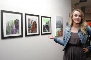 Aisling Drumm with her work,