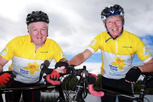 Gerry Lilley and Fred Cleary, who are cycling from Mailanhead to Mizenhead for Marie Curie.
