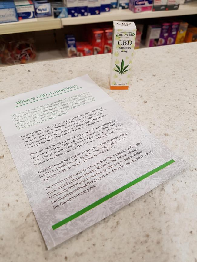 Cannabis oil on sale in Enniskillen. Photo by Meadhbh Monahan