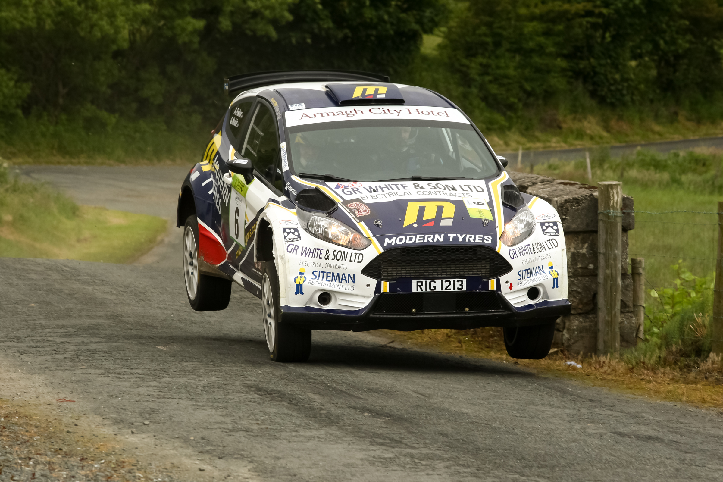 Alastair Fisher and Gordon Noble on their way to second overall in the Donegal International Rally.