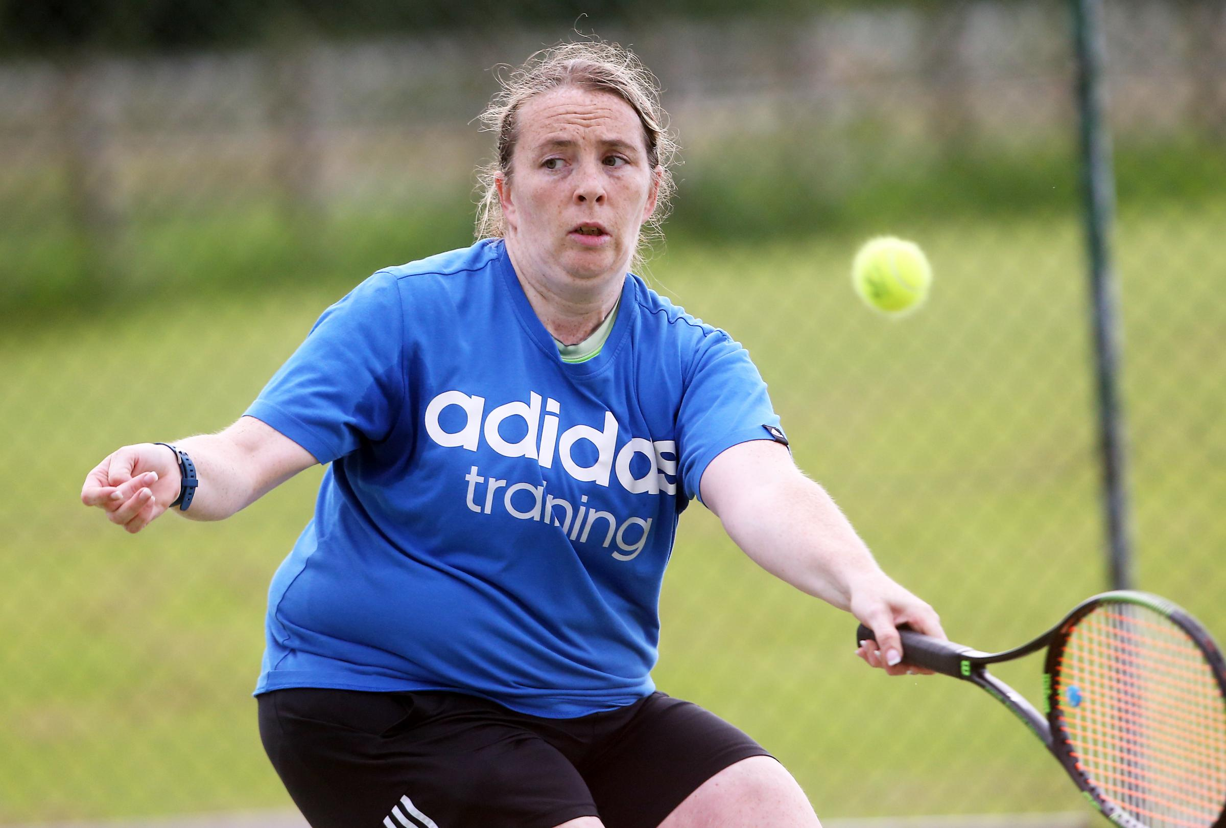 Donna McSorley making a forehand return during the Fermanagh Open Tennis Championships in Irvinestown.
