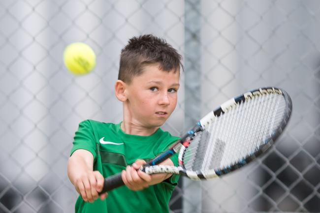Kyle Deery plays a back hand shot at the West of Ulster Junior Championships on Saturday.*