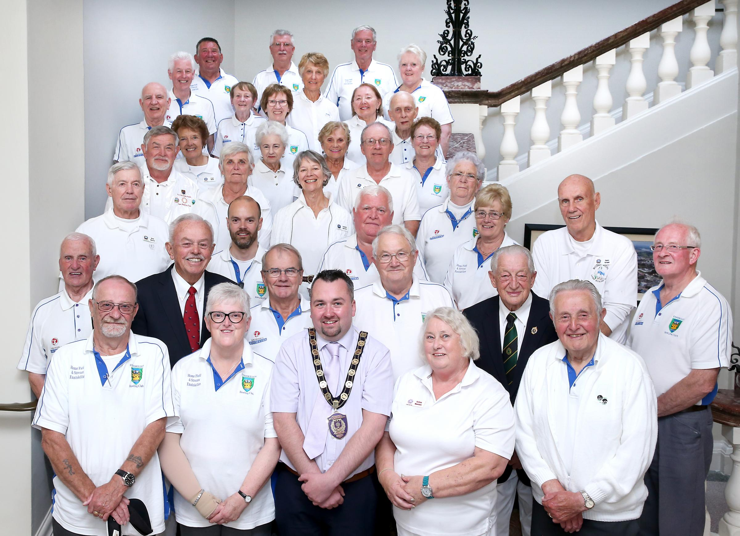 Stephen McCann, Chairman of Fermanagh and Omagh District Council with the Florida Bowling Team and Enniskillen Bowling Club members at a recent Townhall Reception.