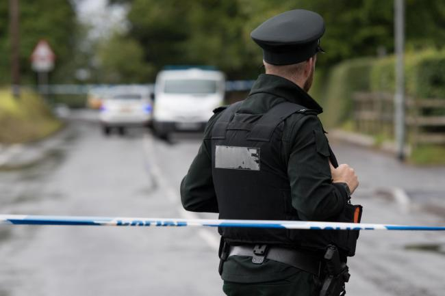 Police at the scene of a security alert in Irvinestown.
