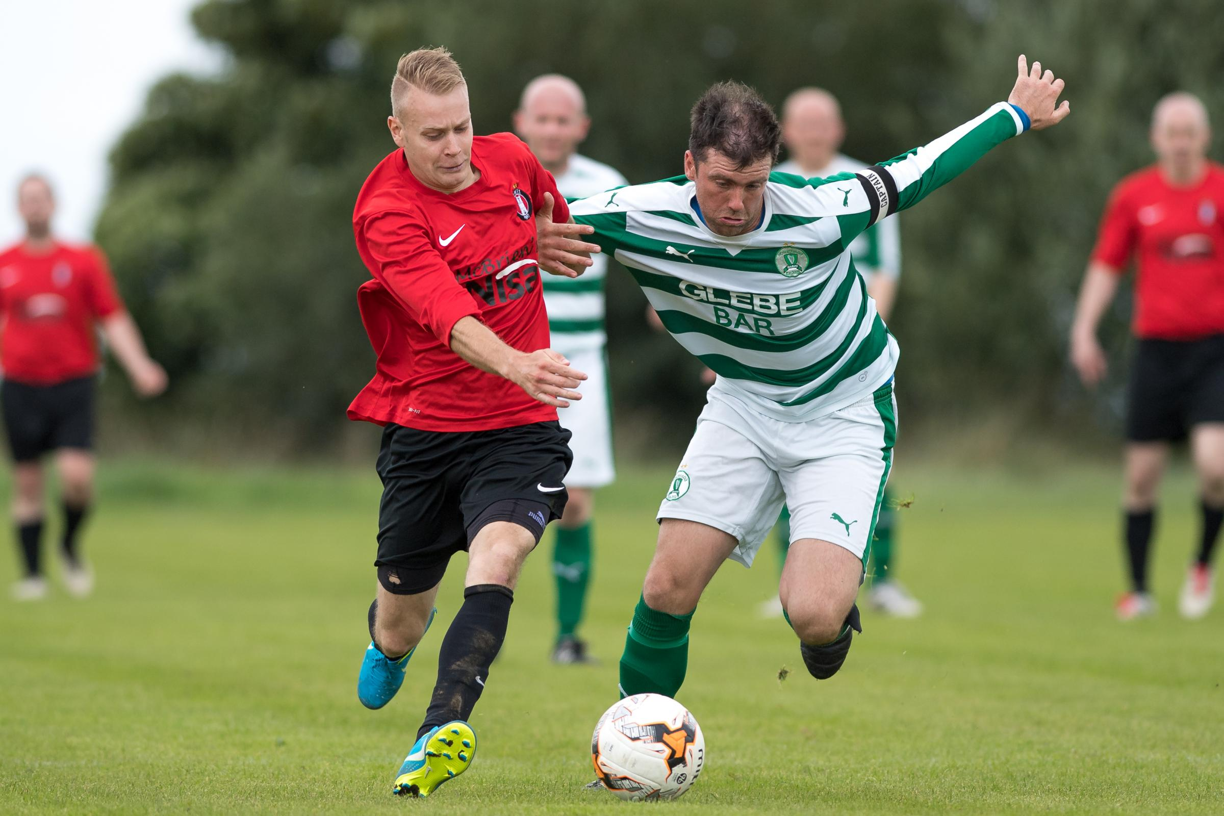 Action from Irvinestown's 1-1 draw against Strathroy at the Bawnacre on Saturday.