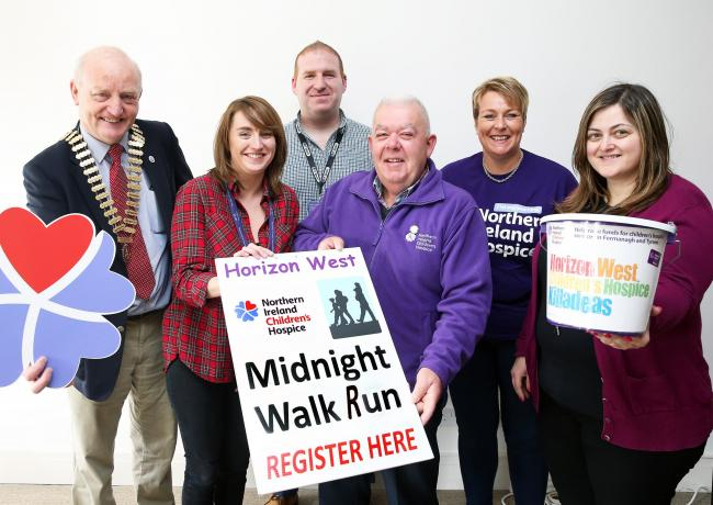 At the launch of the Northern Ireland Children's Hospice Horizon West Midnight Run/Walk on September 29. From left: Henry Robinson, Rotary; Carla Kelly, BT; Keith McKiernan, BT; Derek Bowles, Treasurer; Heather Fallis, NI Hospice; and Donna Doherty, BT.