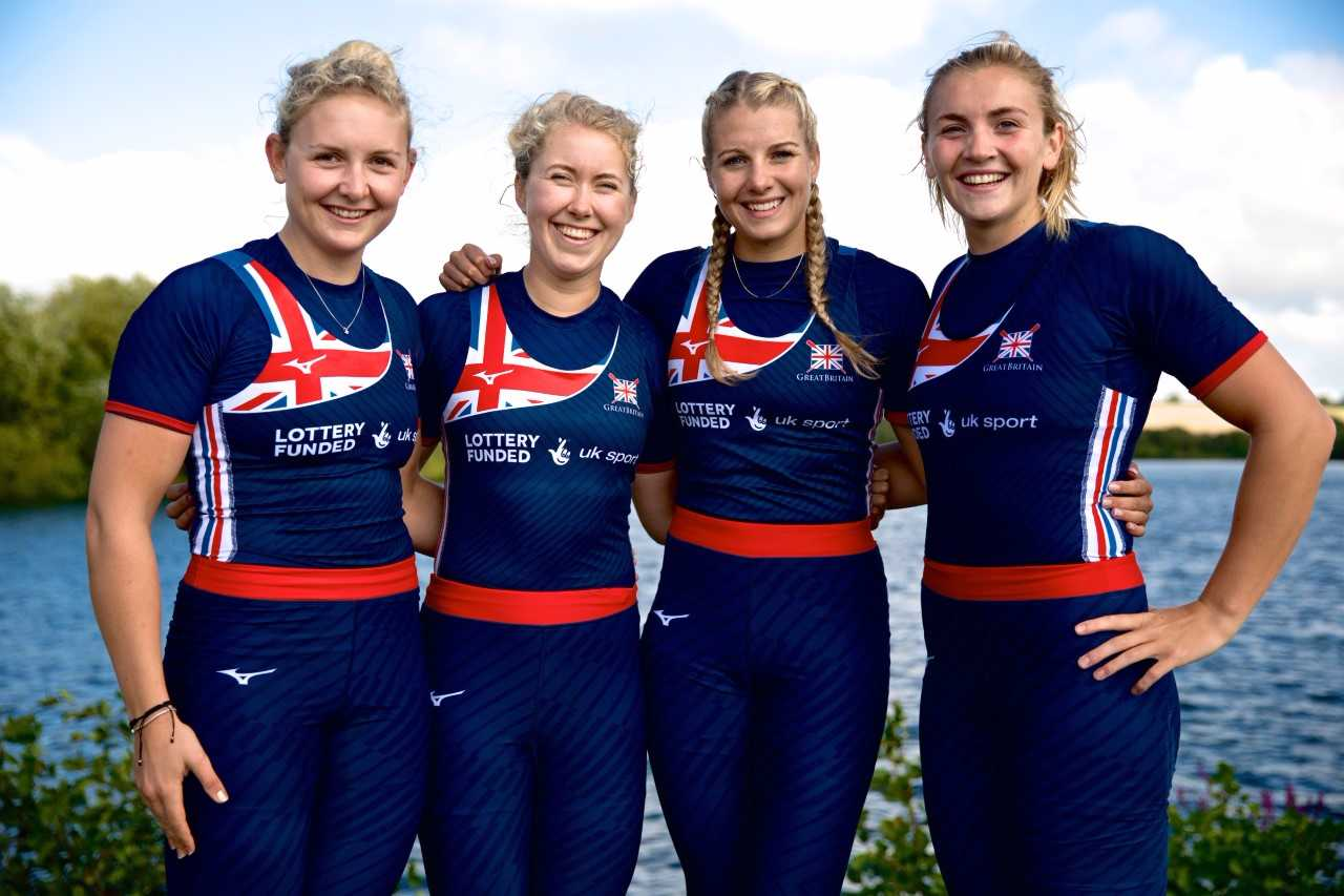 Holly Nixon (right) with crew members ahead of the World Championships which start in Florida on Sunday.