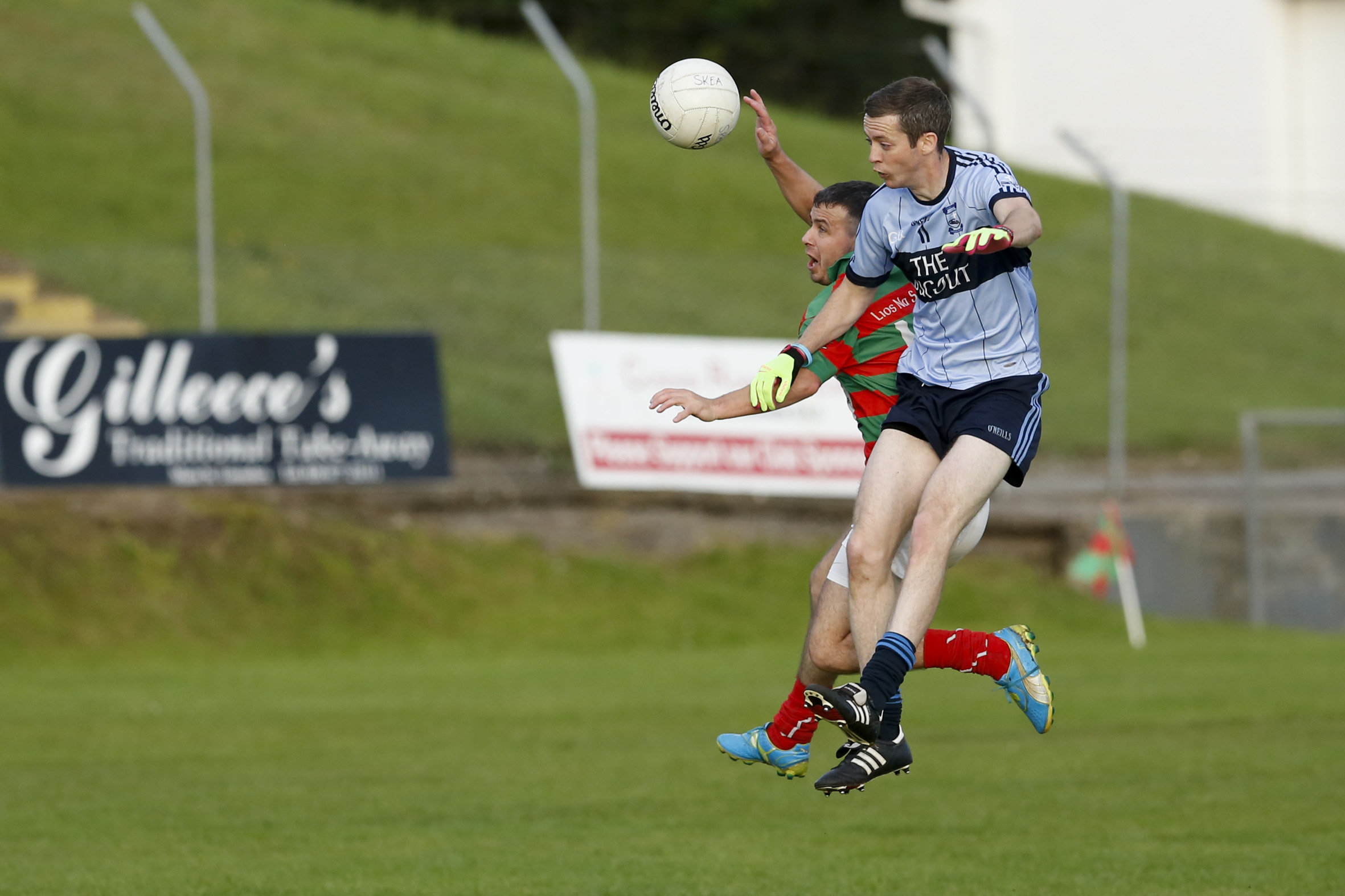 Belcoo's Paul McGrath battles for possession against Lisnaskea's Mark Little earlier in the year.