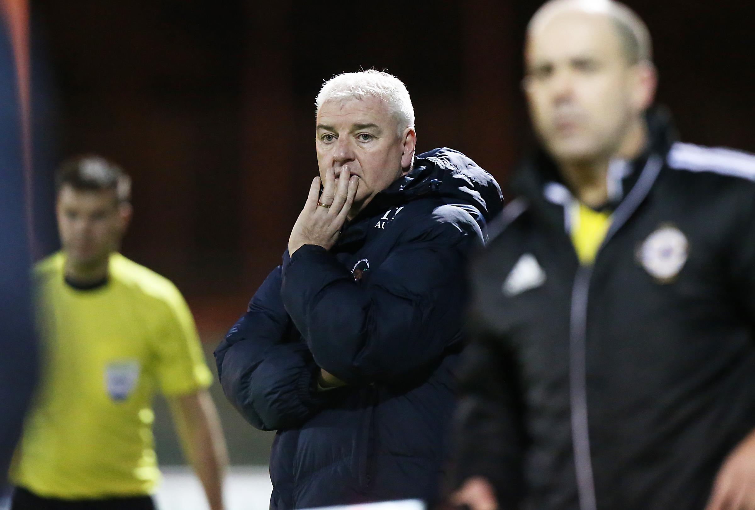 Ballinamallard manager Gavin Dykes watches on anxiously during Friday's encounter against Warrenpoint.