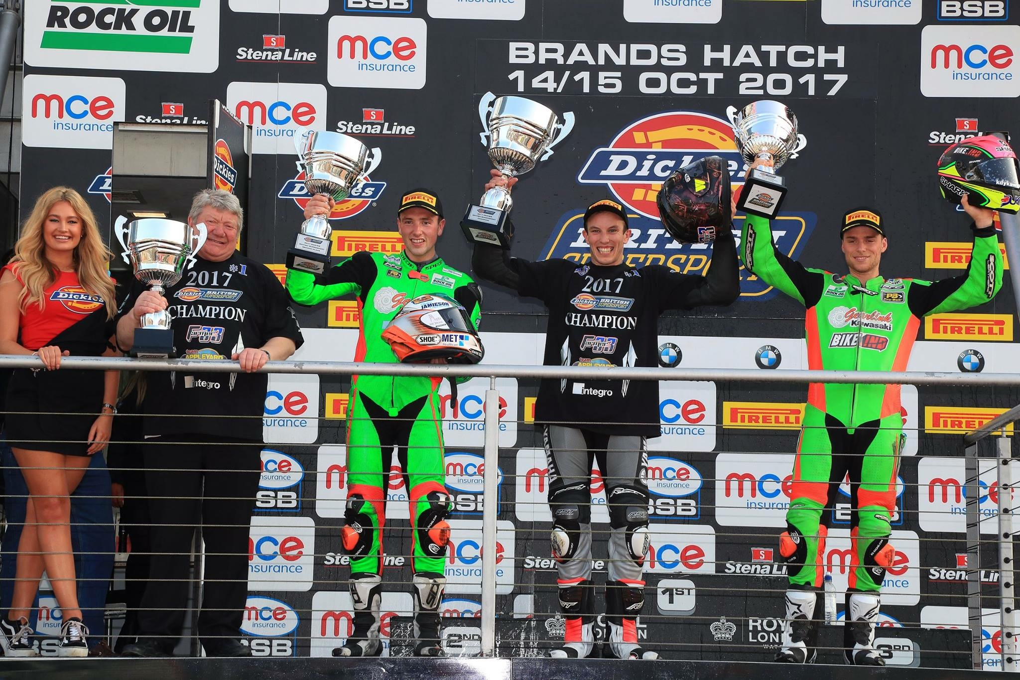 The victorious Keith Farmer on the podium (second, right) after securing the British Supersport Championship crown at Brands Hatch last weekend.