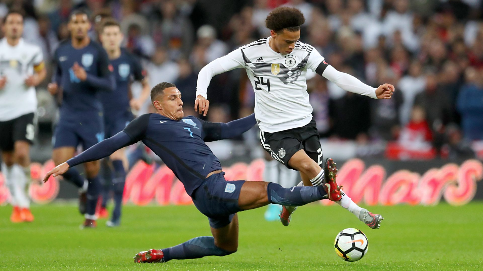 Leroy Sane hit the crossbar for Germany