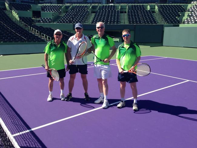 John Maguire (second left) with his fellow Irish team-mates Tony Davidson, Tam Barrie and Mark Milligan on the main show court at Crandon Park in Florida which has played host to the likes of Federer, Nadal and Murray.