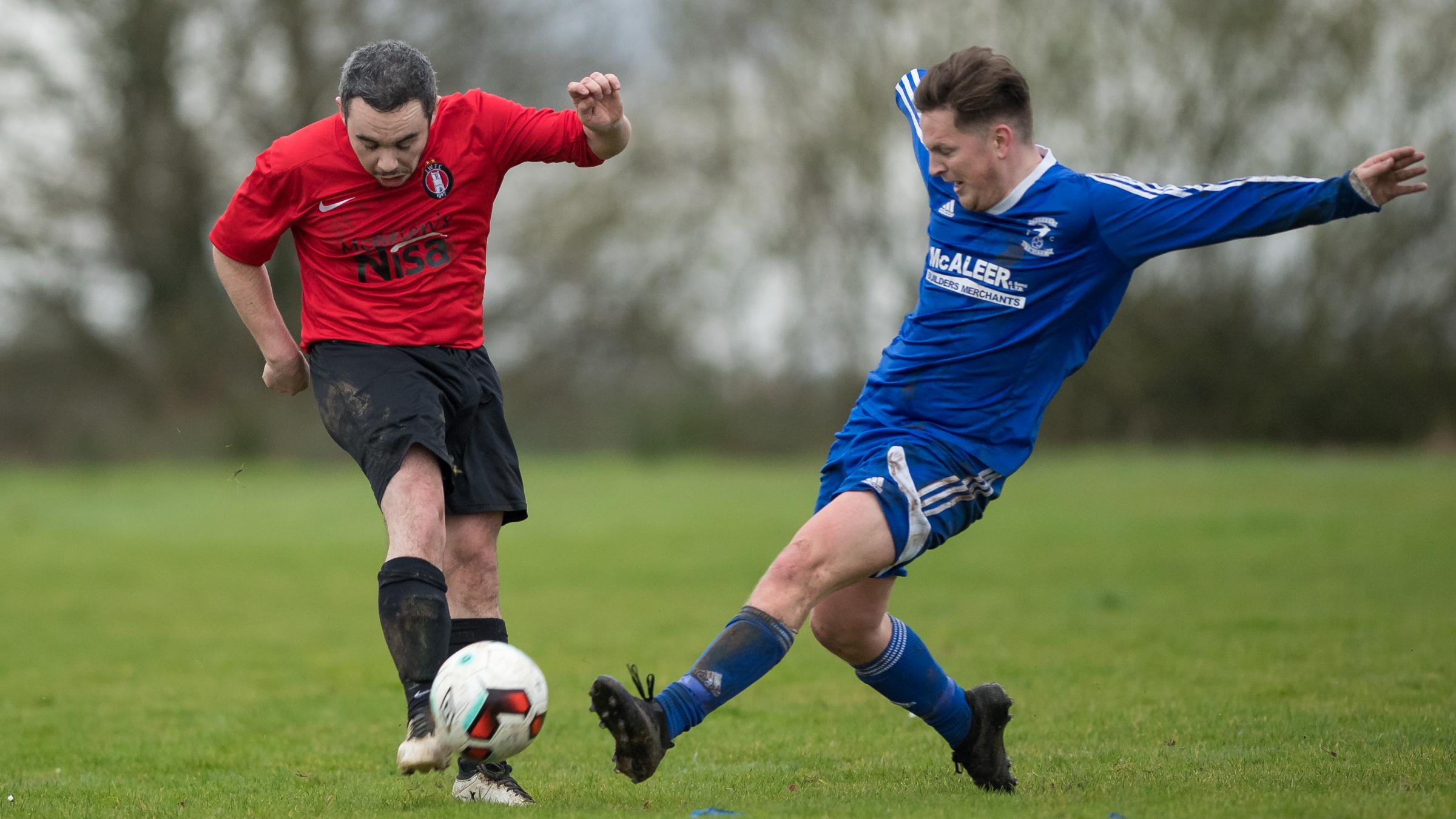 Action from Irvinestown's 4-2 win over Beragh at the Bawnacre on Saturday.*