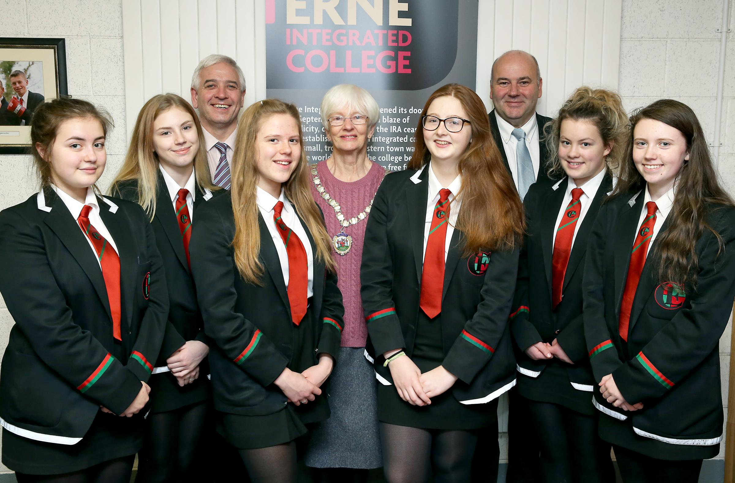 Mrs. Pat Deering, President of Enniskillen Soroptimists with participating students from Erne Integrated College, including Meabh Mackin, 1st, and Molly Rees, joint 3rd. Also pictured, Sean Murphy, English teacher, and Jimmy Jackson-Ware, Principal.