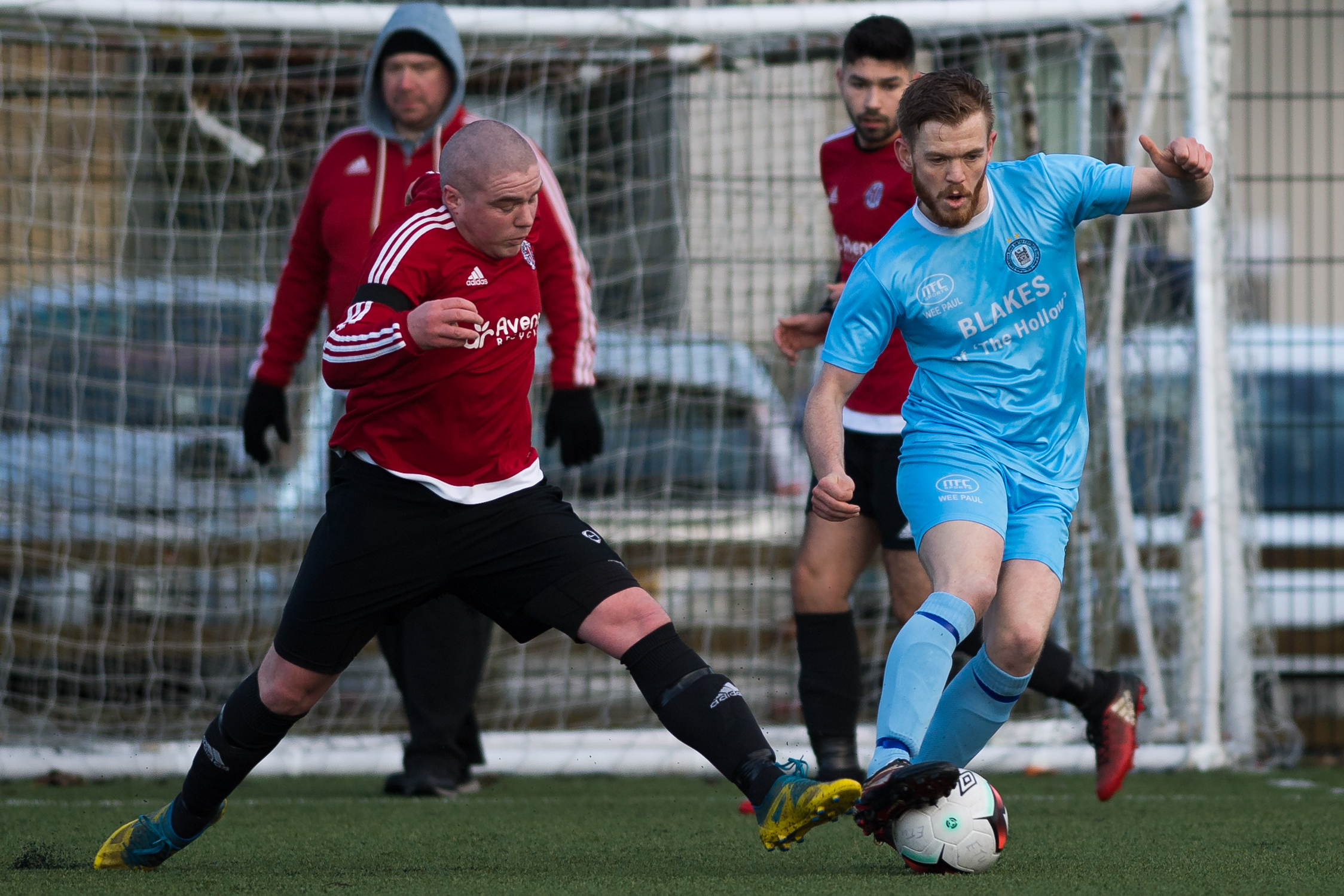 Stephen Clarke keeps control of the ball as Enniskillen Town lost to Willowbank II at the Lakeland Forum on Saturday.*