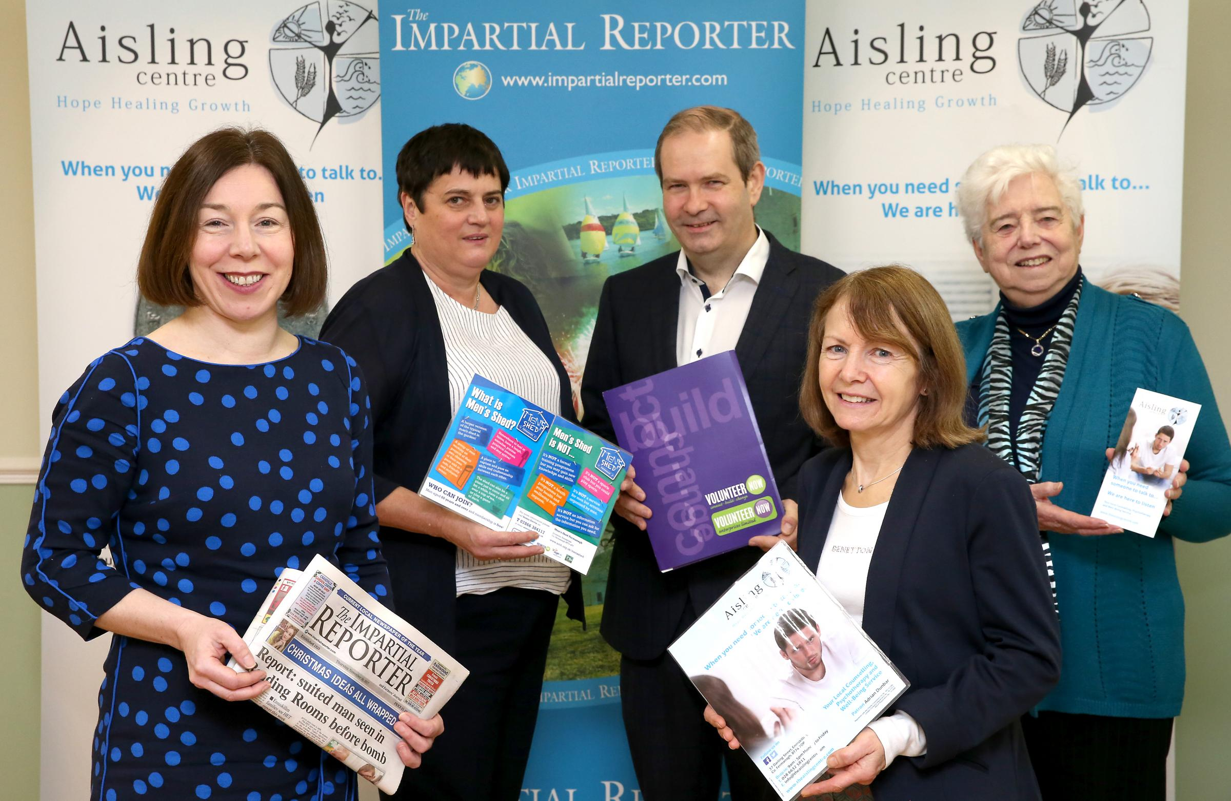 Sarah Saunderson, (left), Editor Impartial Reporter and Mark Conway, Sports Editor with members of the Aisling Centre Enniskillen who are the chosen charity at the Celebration of Sports awards. Included are from left, Patricia Kelly, Marie Greene and Sist