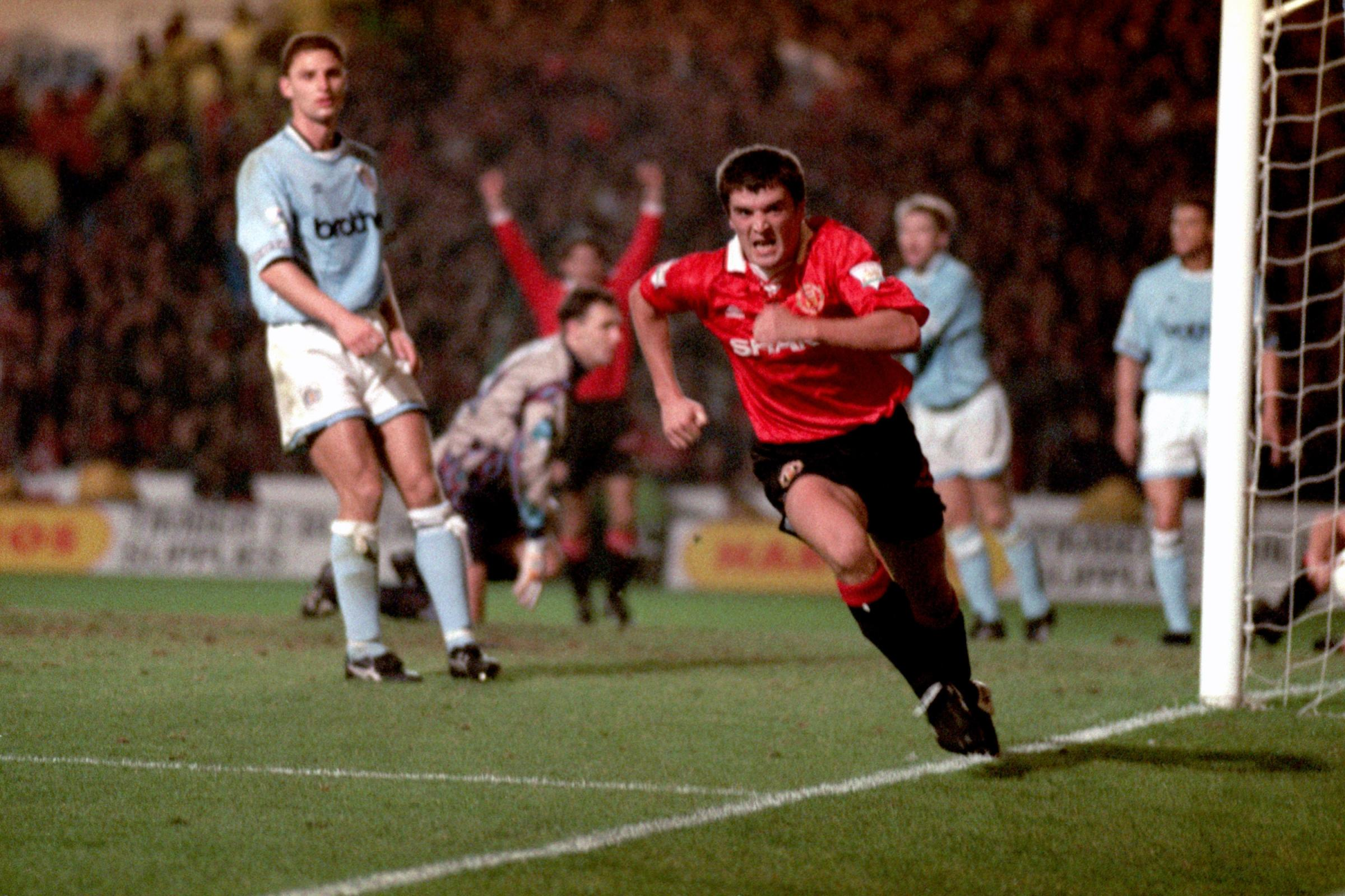 Roy Keane celebrates after scoring for Manchester United in 1993 (John Childs/EMPICS Sport)