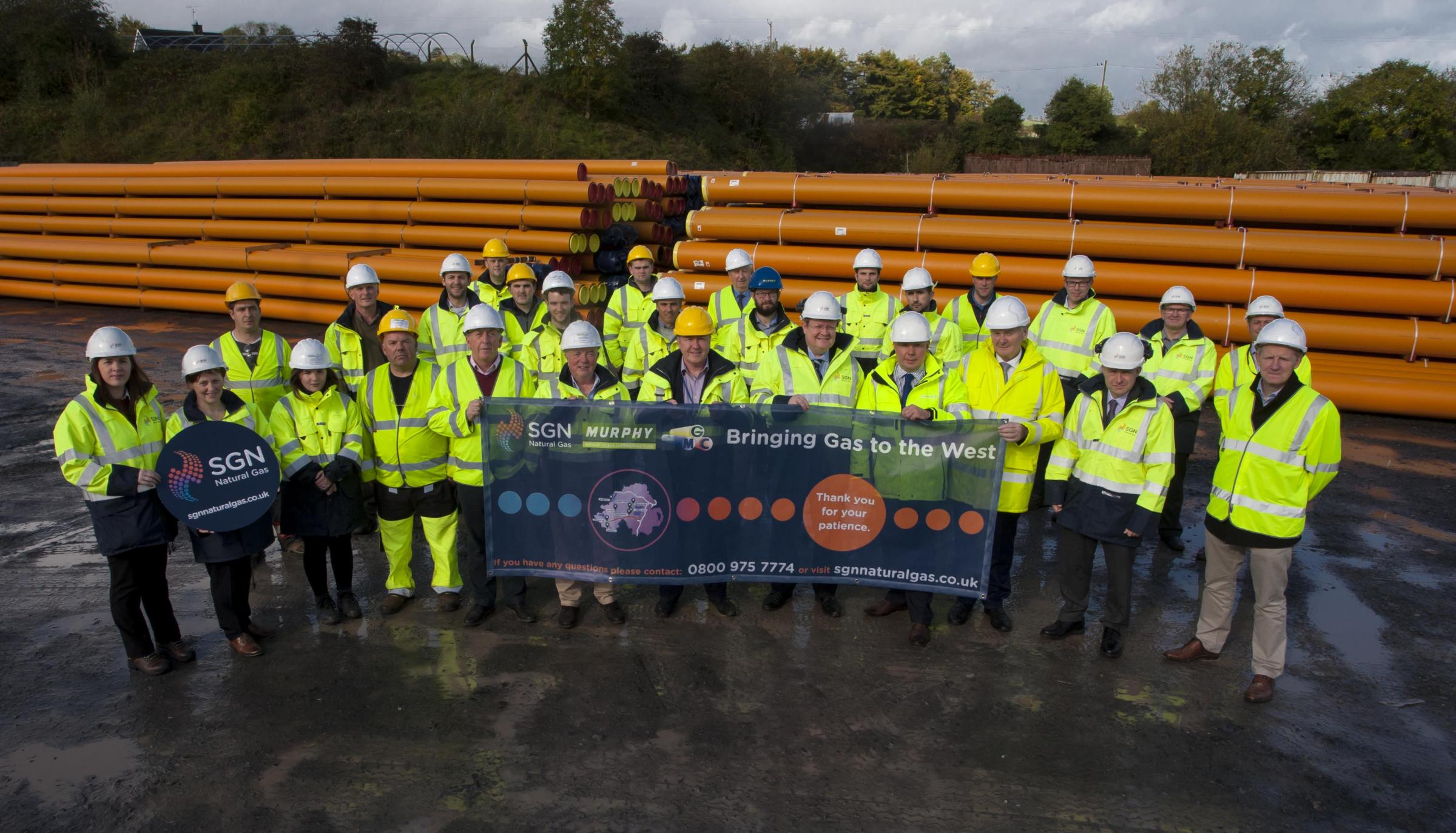 The Gas to the West project team pictured after SGN Natural Gas and partners Mutual Energy announced the appointment of the main works contractor for Gas to the West.