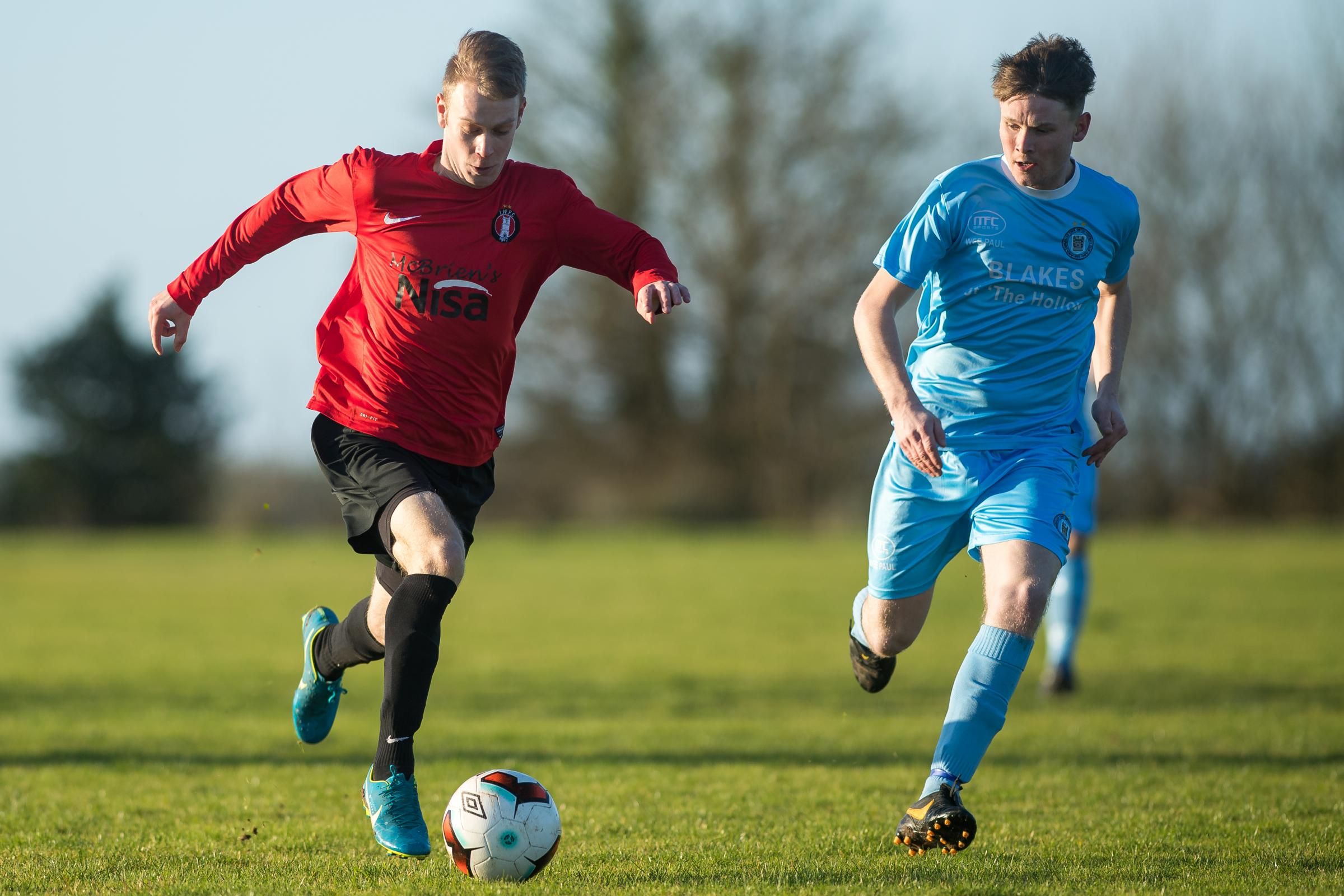 Action from Enniskillen Town's win over Irvinestown Wanderers at the Bawnacre on Saturday.*